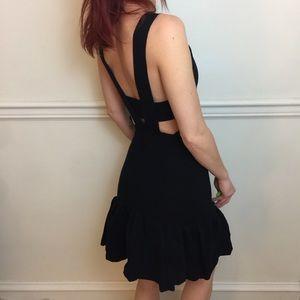 SANDRO Paris Black Sleeveless Bandage Peplum Dress